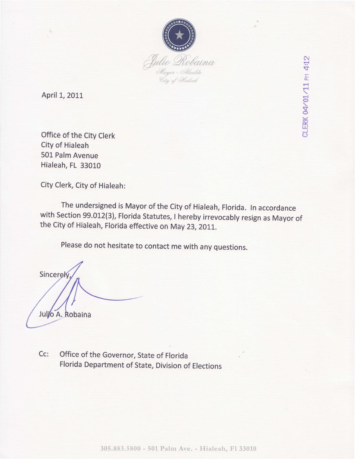 julio robaina resignation letter