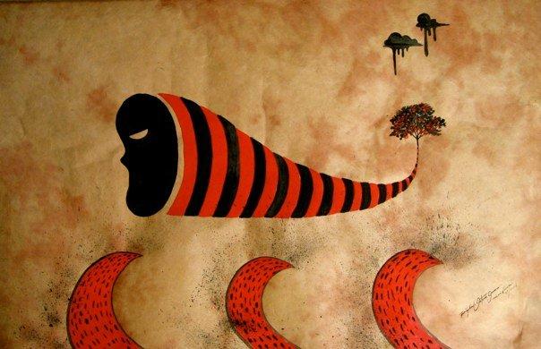 """""""Olas de arte"""" 20"""" x 30"""" Gouache on handmade paper"""