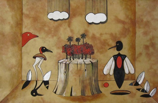 """Balance en el bosque astral"" 20""x30"" Ink and gouache on handmade paper  ©2009"