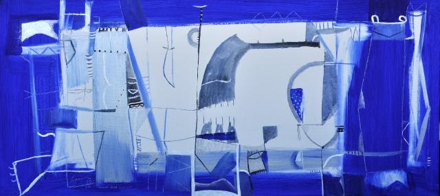 "Obra: "" AZUL TE QUIERO"" 2012 ACRYLICS ON CANVAS 122X156 cms (48""x62"")"