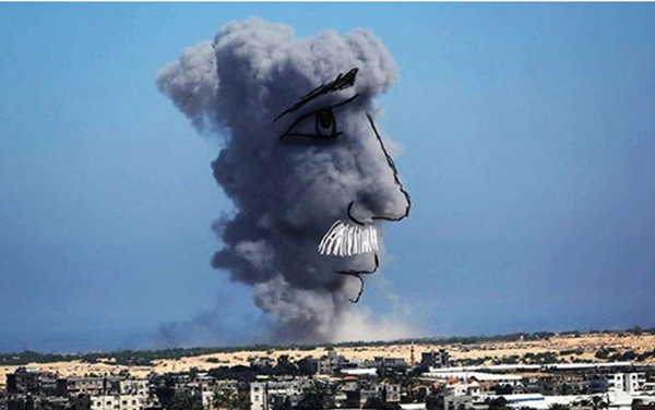 Palestinians Make Art with Gaza Bomb Smoke