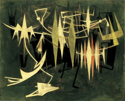 """À la fin de la nuit, 1969"" (above) and ""Composición, I, 1930"" (below) are among the works on display at the McMullen Museum exhibition on surrealist Wifredo Lam."