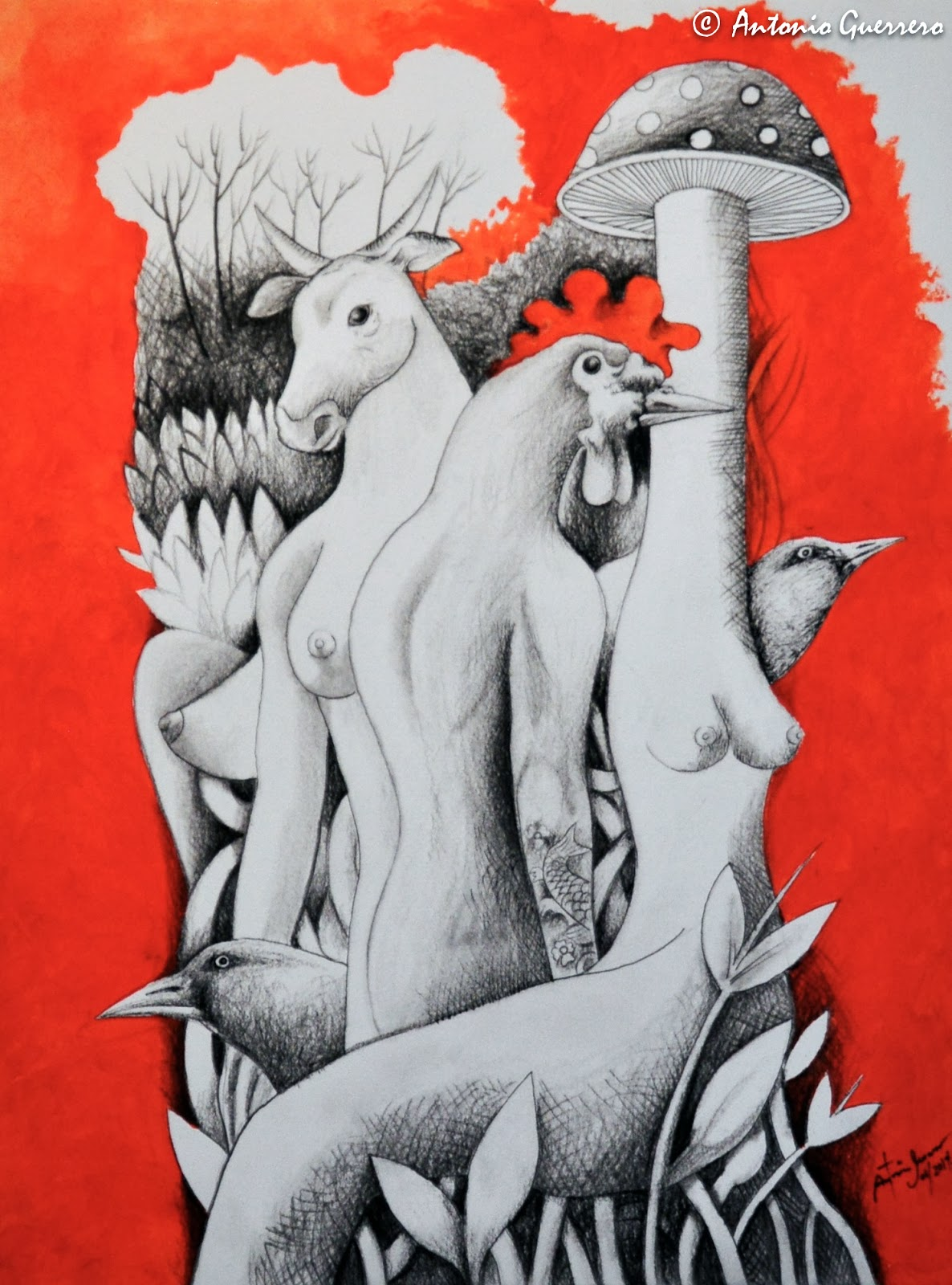 Nudes red garden by Alberto Mendez