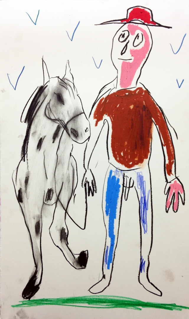 Platero y yo, 2014, charcoal crayon and pencil on paper, 19X11 inches.