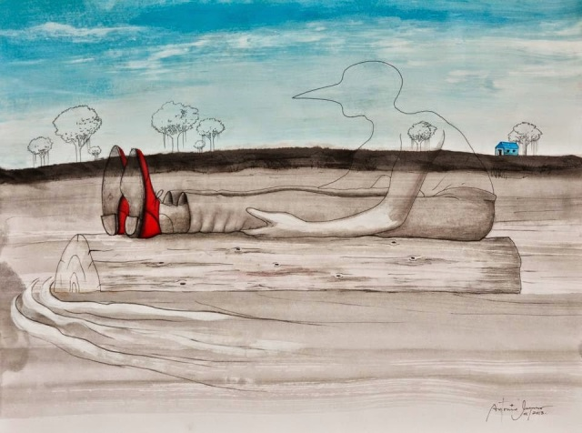 Title: Red Shoes Medium: Mixed media on paper Sizes: 18