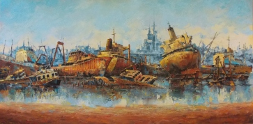 "Gotic Ships Oil on Canvas 24""x48"""