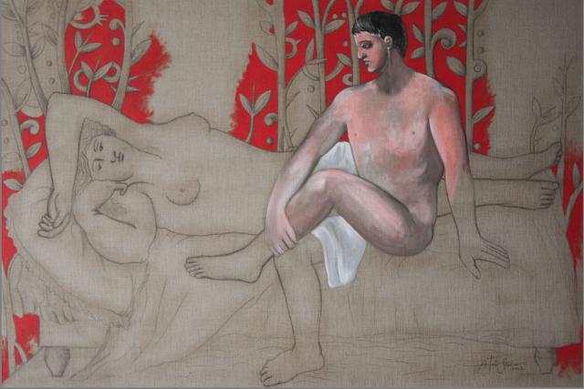 Antonio Guerrero, after picasso, red room, linen