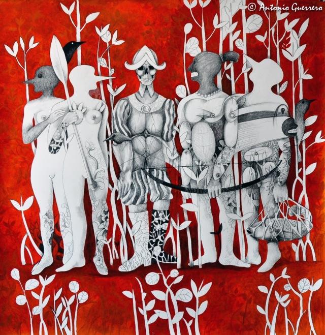 Antonio-Guerrero,-cuban-artist,-indios,-guerreros,-parajos- negros,-indios-con -flechas,-indian,- españoles,spain,- indian,- cuba,mujeres- pajaros,arte-cubano