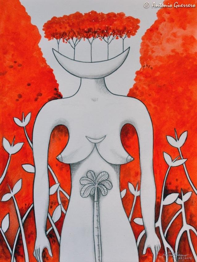 Antonio-Guerrero,-Cuban-Artist,-red-art,-arte-rojo,-cuban-palm,-fly,-naked-woman,-cuban-master