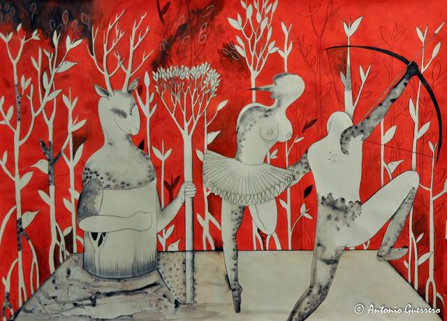 Antonio Guerrero,Soul,Dance,Red Planet ballet,cazador,Deer Red Art, arte rojo, Cuban Art, Arte cubano, art for sale, la virgen del cobre, abakuas, relicion cubana, los caballitos del diablo, ñañigos, leopardos, nigeria, balseros
